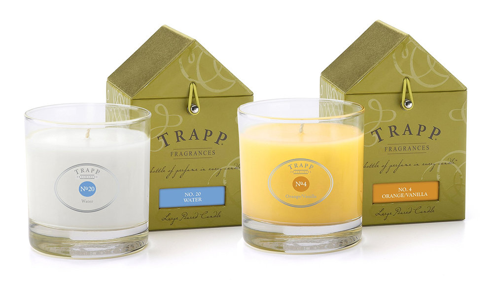 Carla & Co carries a wide variety of Trapp Candles, we have 2oz. & 7oz. candles, room sprays & wax melts.  This Fall's most popular fragrances are Orange Vanilla and Water.