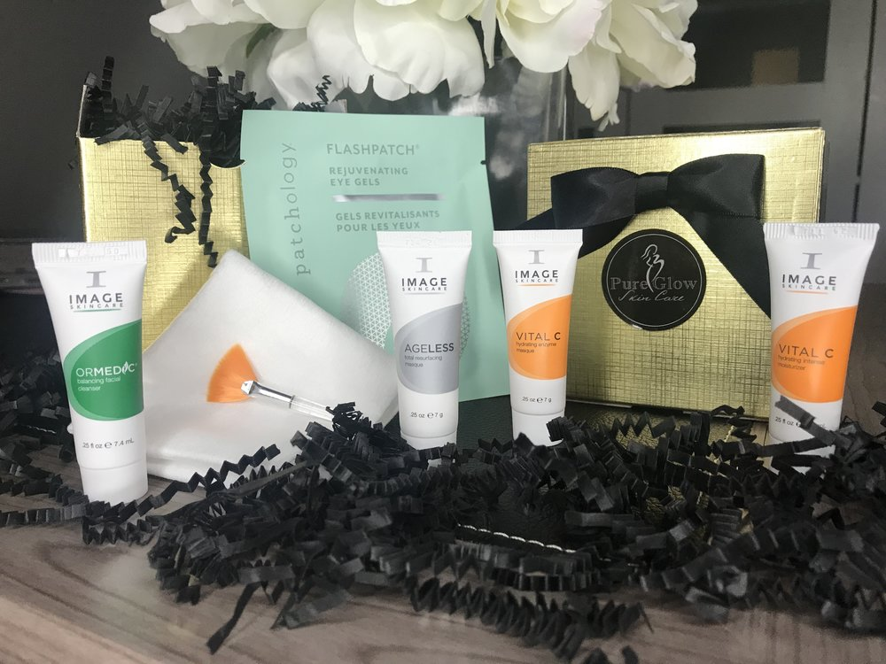 Treat that special someone to an at home facial! Pure Glow Skin Care offers this Glow in a Box Kit, which includes Ormedic Cleanser, Ageless resurfacing scrub. Vital C enzyme mask, Rejuvenating Eye Gel mask, Vital C Moisturizer, wash cloth and mask brush, all wrapped in a beautiful gold box. Great for anyone who enjoys pampering themselves! $20  Pure Glow Skin Care 308 Uptown Square