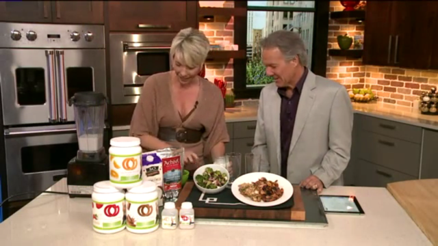 The Place Host, Dave Nemeth and I creating 1 of our Meals That Transform great tasting OM POWER Smoothies on set