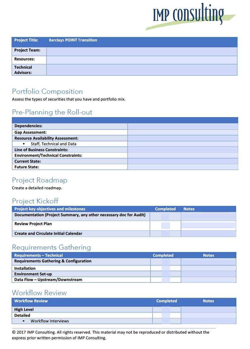 Barclays POINT Transition Checklist - Request the checklist to confirm your project is on track.