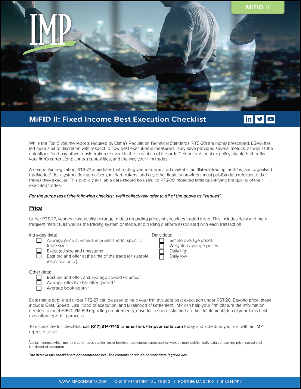 Download The MiFID II Fixed Income Best Execution Checklist