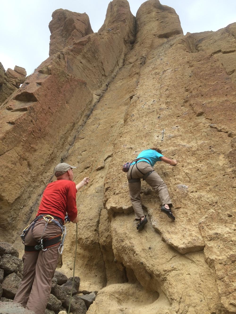 Brandon's Dad belaying Asam at Smith Rock