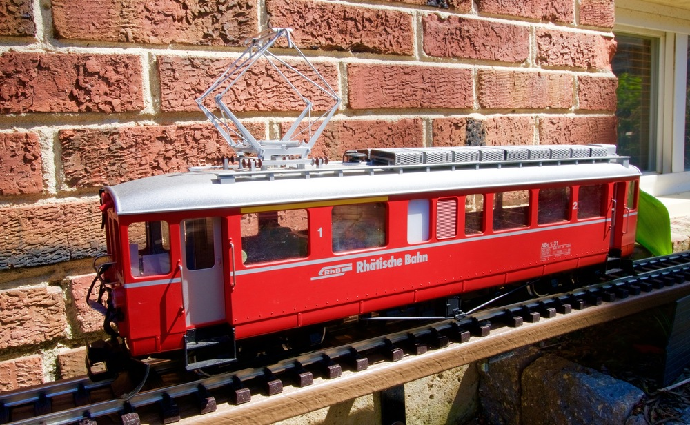 A LGB company Rhätische Bahn EMU on the authors Chesapeake and Tenleytown Railroad. This model is in the 1:22 scale.