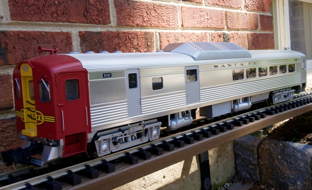 An Aristo-Craft Santa Fe Railroad RDC also on the authors garden railway. This model is in 1:29 scale.