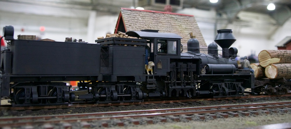 A large scale three truck Shay locomotive.