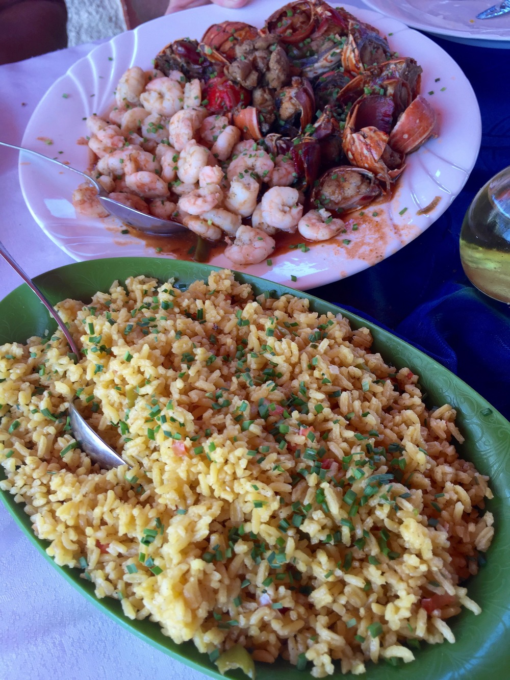 Langosta (lobster), camarones (shrimp) and arroz (rice) -- my favorite meal of the trip!