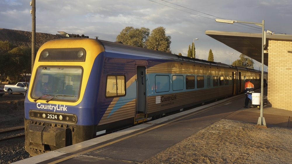 "My train from Broken Hill to Sydney. A three section ""Xplorer"" diesel multiple unit train built by ABB Transportation. Photo by Ralf Meier"