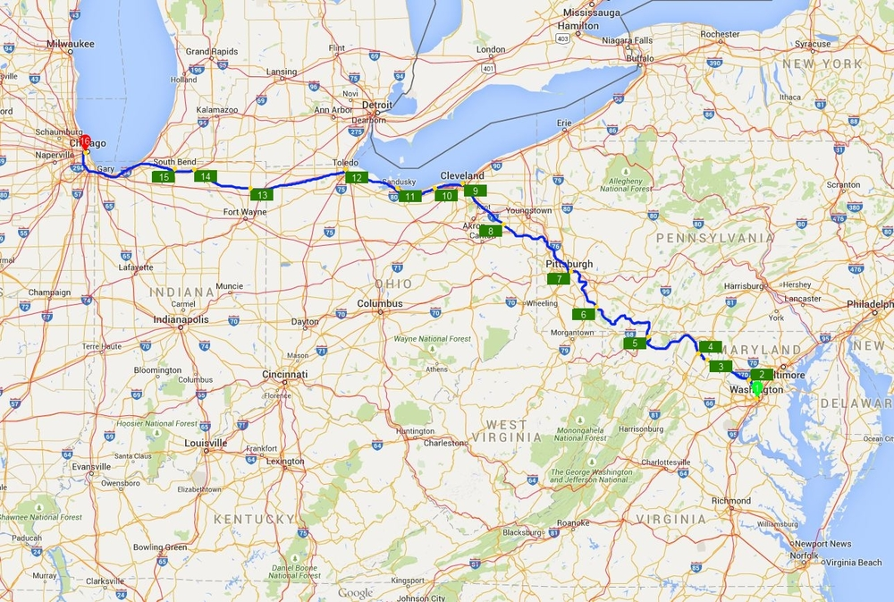 """The route of Amtrak's """"Capitol L          (from www.nanavor.com)"""
