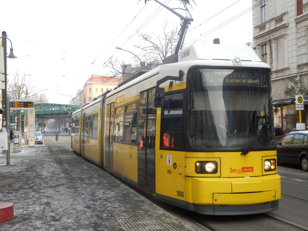 A BVG M1 line tram in a less challenging situation.