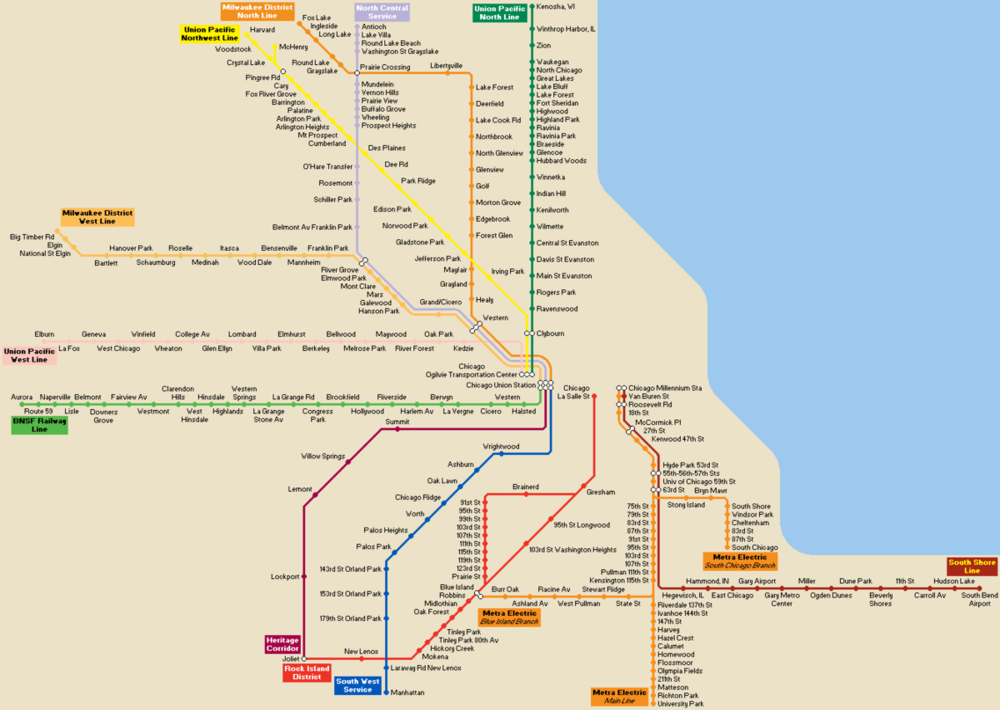 Metra Commuter Rail System Map
