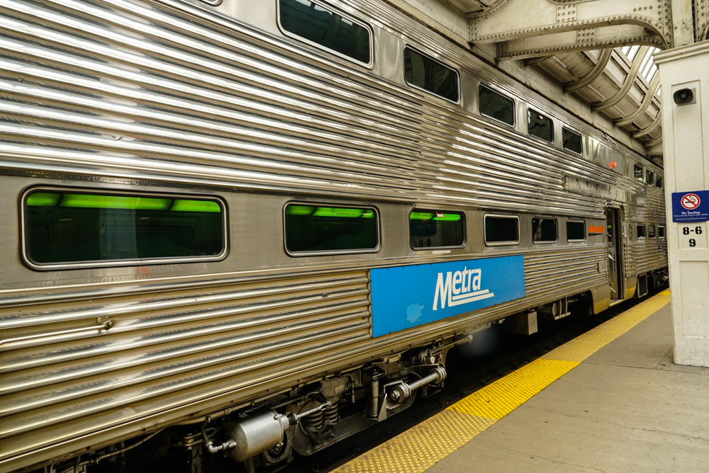 Metra double deck car 749, built by Budd in 1955.