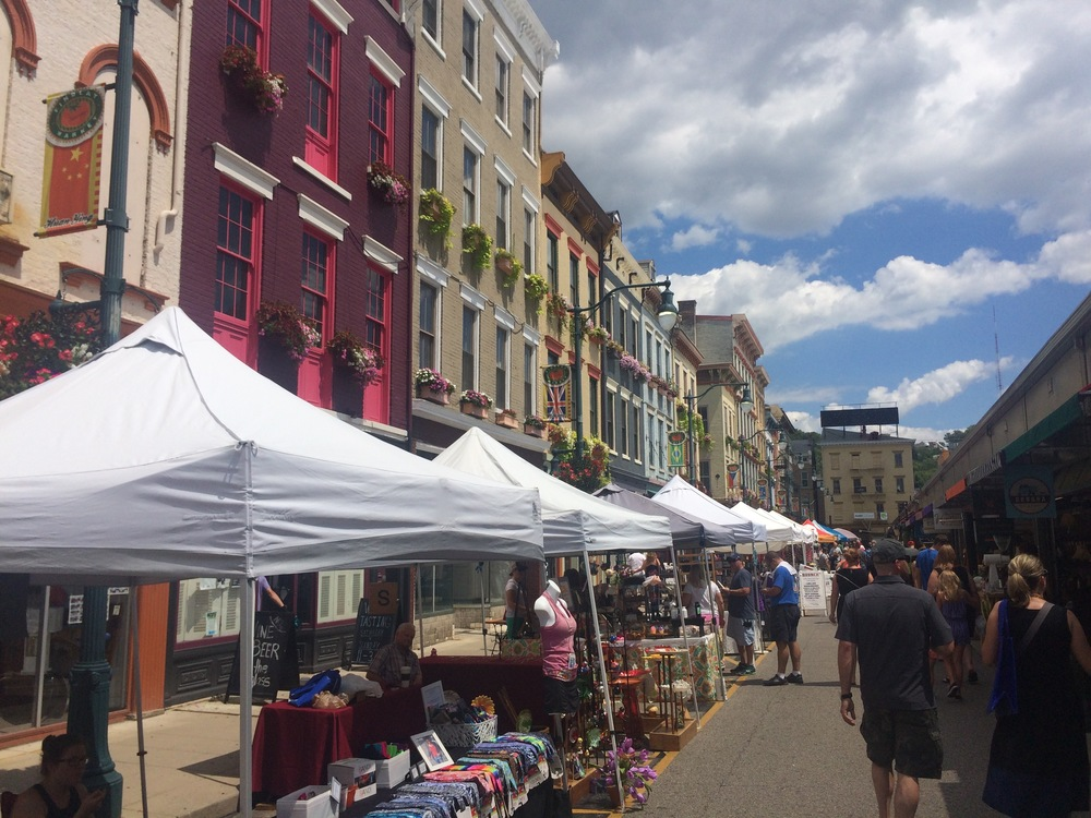 Findley Market is on the right.  Lots of interesting stores here.    (Photo by B. Wing)