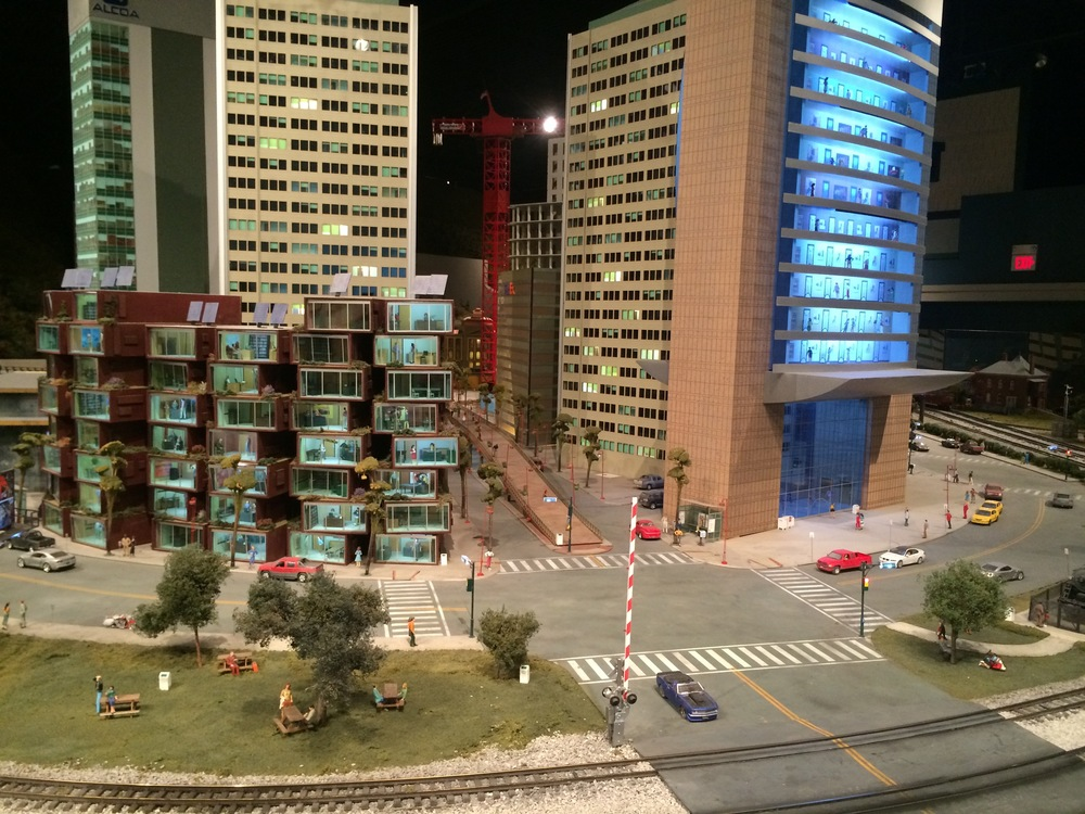 The buildings in the modern area section are a bit fanciful.    (Photo by B. Wing)