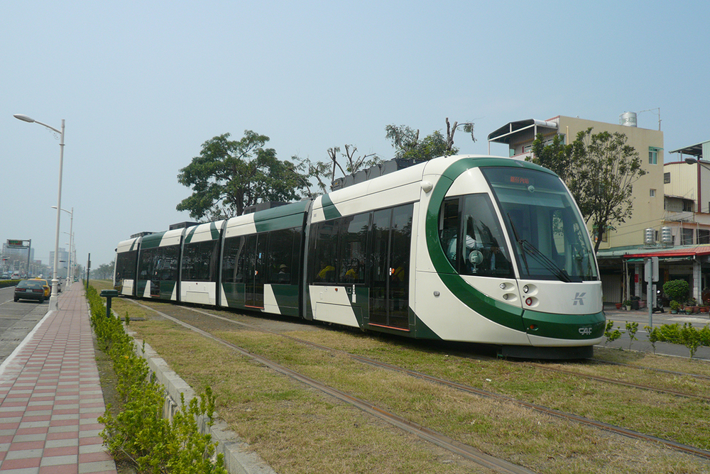 """A CAF """"Supercapacitor"""" tram in Kaohsiung, Taiwan.    (Photo by CAF)"""