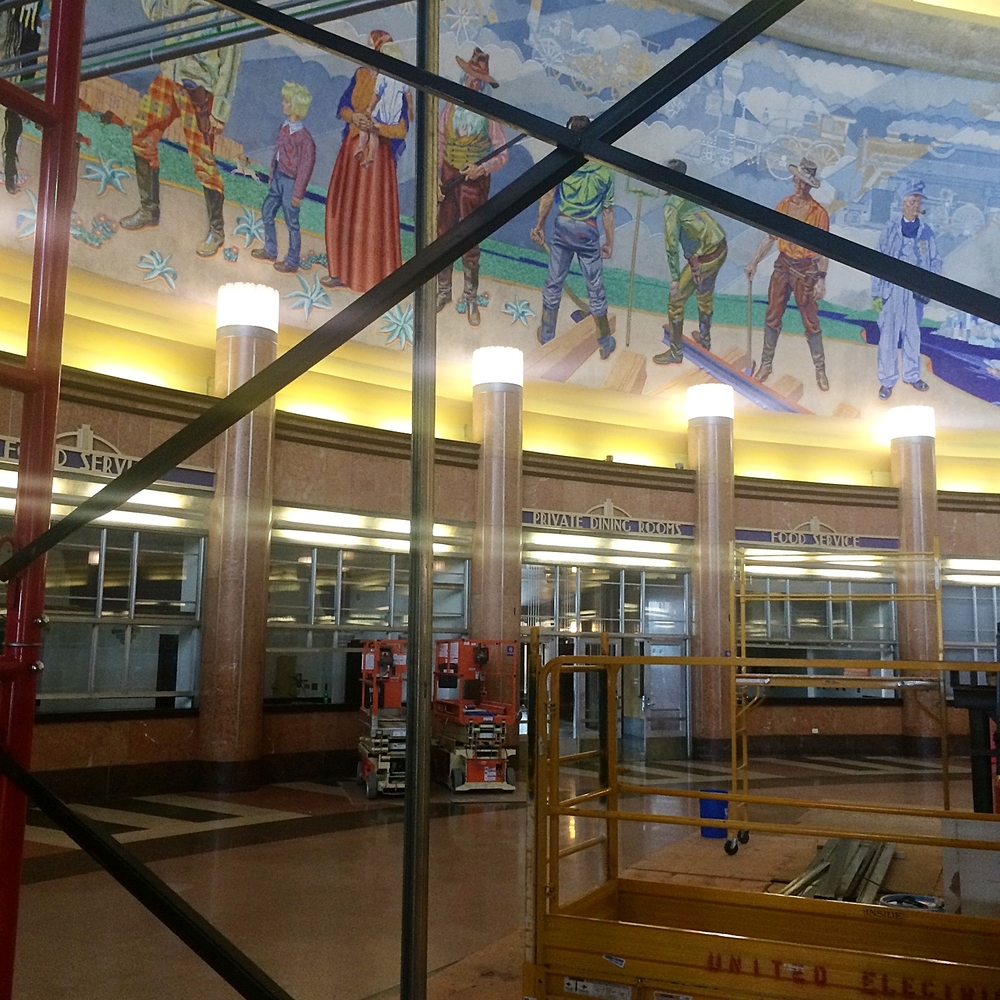 Looking through the scaffolding for a better view of the art deco lobby. (Photo by B. Wing)