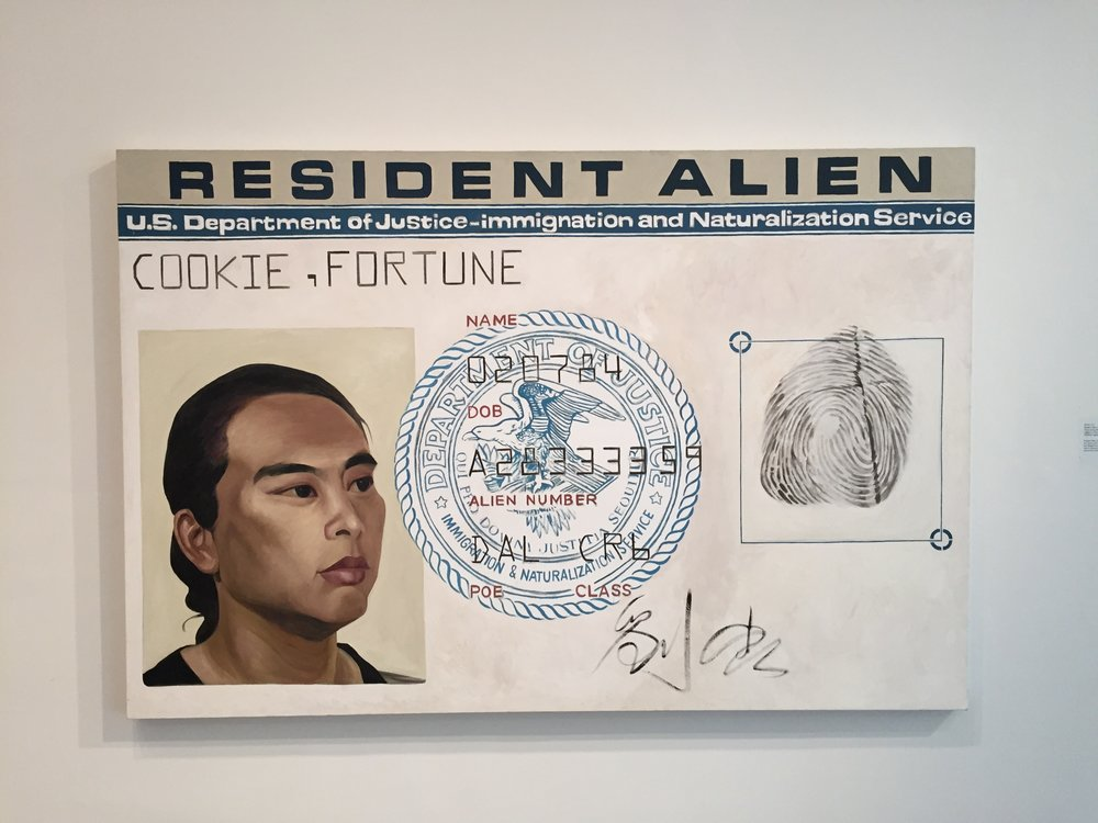Hung Liu painter herself here on a stylized version of her own resident alien card