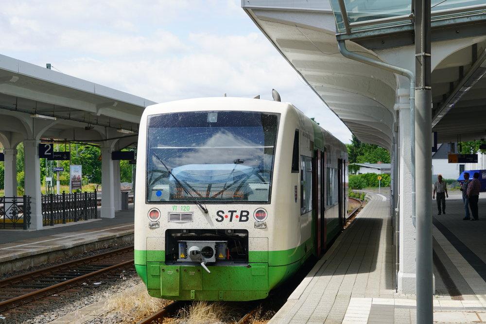 """A Süd Thüringer Bahn Stadler """"Regio Shuttle"""" diesel unit at Sonneberg."""