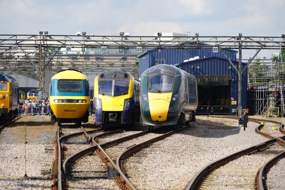 Britains version of high speed trains: On the left is an Intercity 125 diesel train. Some of those are now over 40 years old and still in service. In the middle is a Class 180 diesel multiple unit train, the first one having been built in 2002. On the right is a  Hitachi built Class 800  electro-diesel train. These are brand new and are slated to replace the Intercity 125 units.