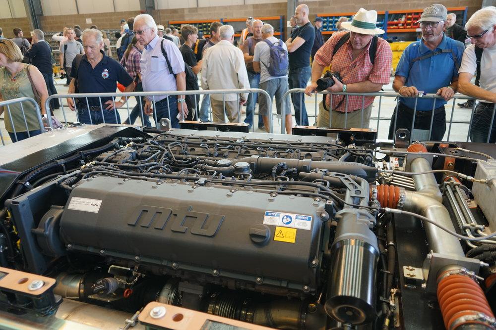 An underfloor  MTU diesel engine  for a diesel multiple unit.