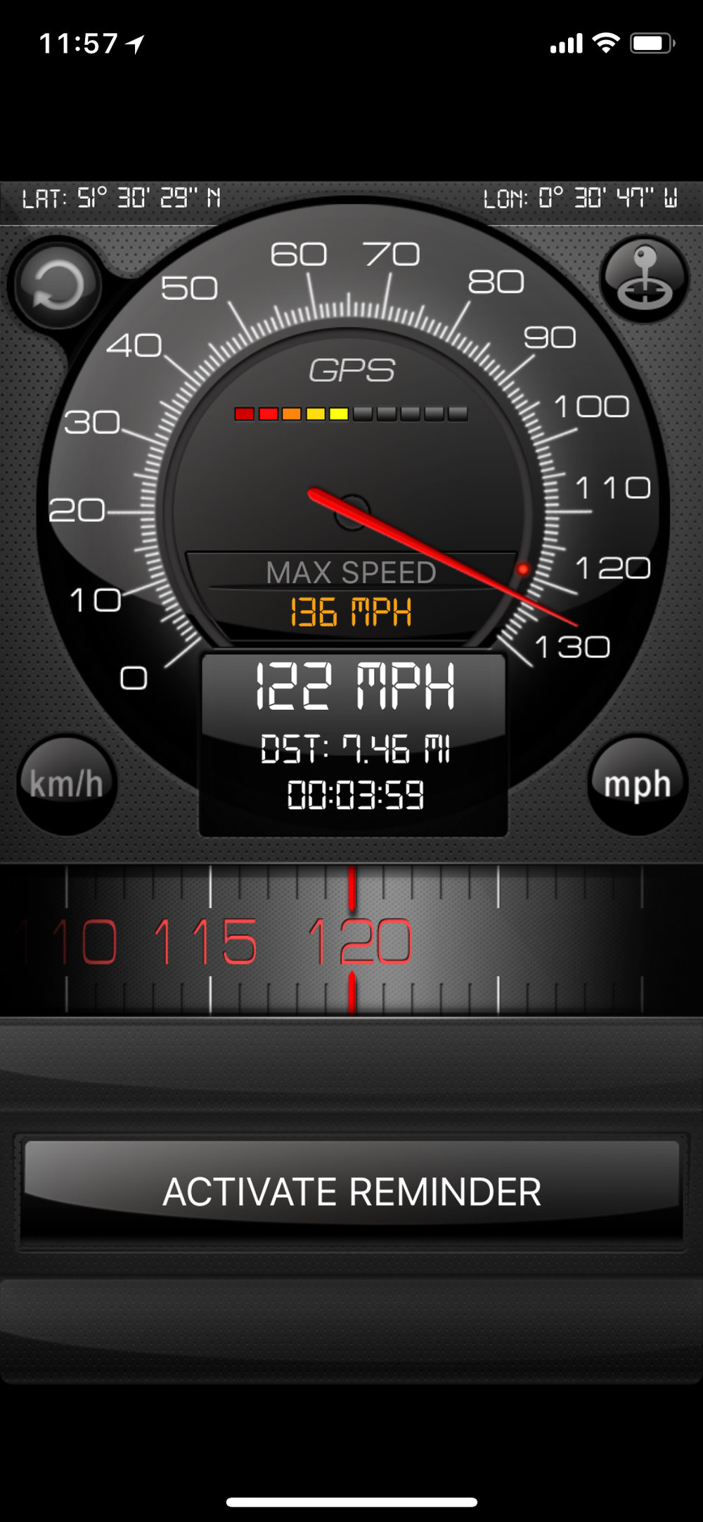 The iPhone X speed application screen shot.