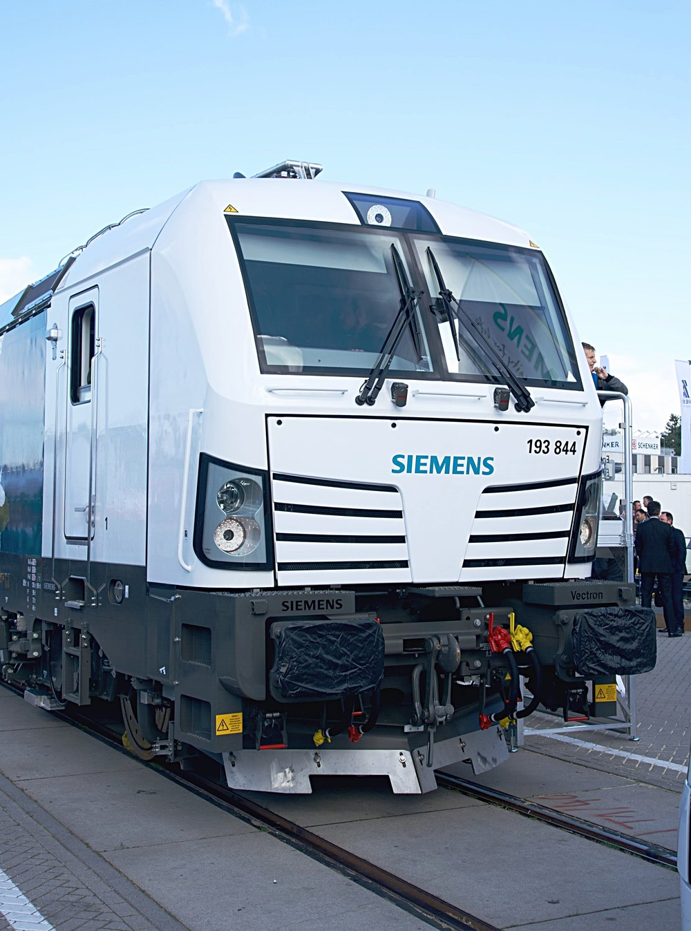 "A Siemens Mobility ""Vectron"" line electric locomotive at the 2016 InnoTrans Exhibition in Berlin, Germany. This was one of the first units to have a ""last mile"" diesel engine on board."