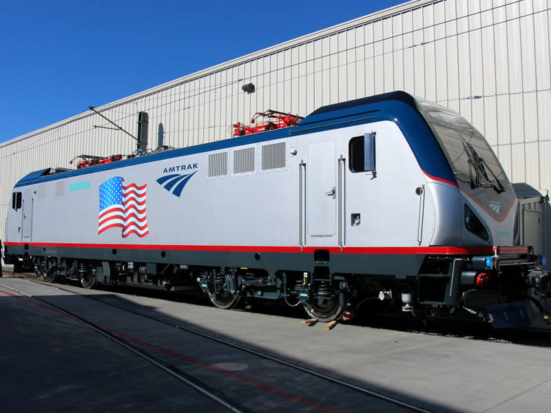 An Amtrak ACS-64 at the Siemens manufacturing facility.                                         Siemens Mobility Publicity Photo