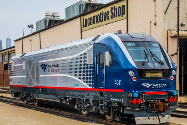 "An Amtrak ""Charger"" diesel electric locomotive, also derived from the Siemens ""Vectron"" platform.  Amtrak Publicity Photo"