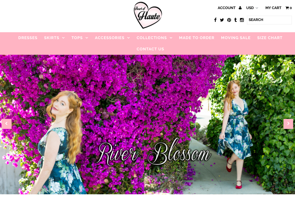 Website cover Heart of Haute