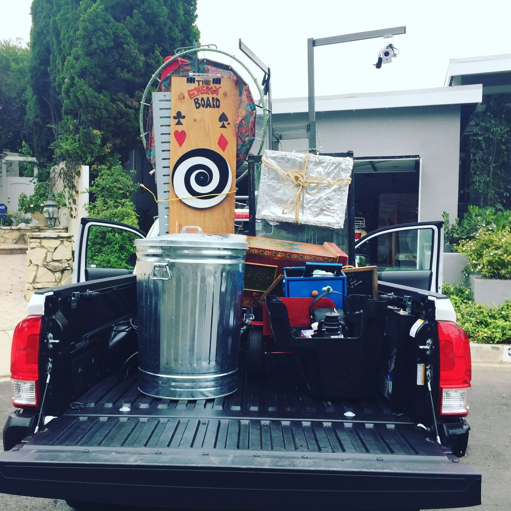 A tedious process: loading the truck... - Look for Matthew Singer Magic™ on the road and wave the Magic Show Truck down for 25% off your next gig!