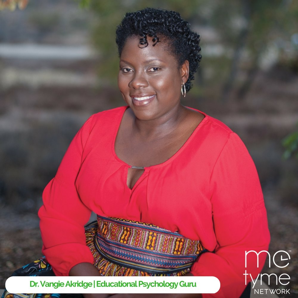 """Meet Me Tyme Network Guru Dr.Vangie Akridge, a Licensed Educational Psychologist, Educational Advocate and Consultant, Life Coach, Speaker and Writer. Dr. Akridge has dedicated her time to recycling her vocational training and experience to elevating the stigma associated with both special education and mental illness. Additionally, she has developed a T.D.F.W. – Turn Down for What - Emotional Processing model that prompts participants unpack their emotions of anger and mistrust that often cloud their ability to simply """"let it go"""". Dr. Akridge also specializes in identifying learning challenges and developing viable school plans to support learning disabled students of all ages; she helps students and families find their voice by way of individual/family therapy and parenting support. To learn more visit  metroconsulting.com ."""