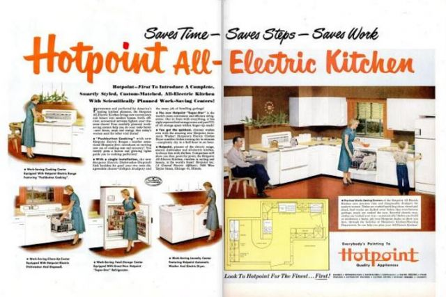 On The Left Page In Bolded Text, The Ad States: U201cHotpoint  First To  Introduce A Complete, Smartly Styled, Custom Matched, All Electric Kitchen  With ...