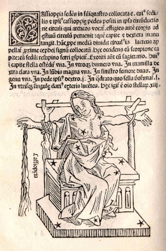 Casseiopeia. Illustration from Poetica Astronomicon, by Hyginus (1482). (Internet Archive I Public Domain)