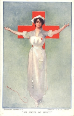 """An Angel of Mercy."" Postcard by Hal Hurst, 1917. (National Library of Medicine I Public Domain)"