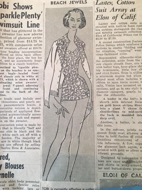 Original design by Alene Hill featured in California Apparel News, January 18, 1957