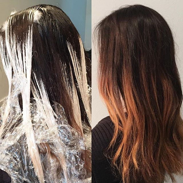 Brightening a gloomy day with some copper balyage and a root adjustment. Thanks @master_peace10 always a pleasure!  #portlandbalayage #gaminestudio #olaplex