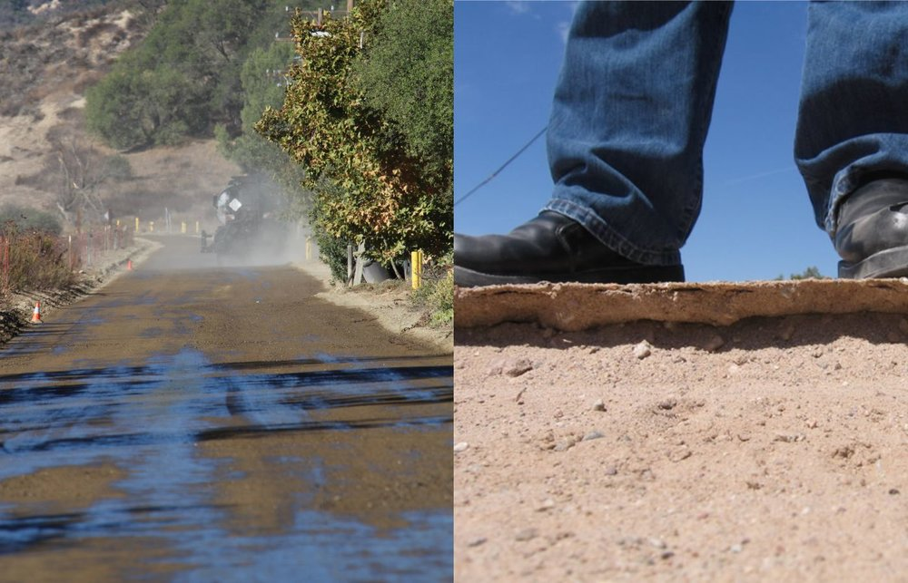 "Unpaved roads degrade for two primary reasons – they are either too wet or too dry. When a road is in the ""Goldilocks Zone"" between the two, it is at its optimum moisture content (OMC). In other words, the road's moisture content is just right.    The problems start when the road falls below OMC (too dry) or above OMC (too wet). A road that is too wet results in a significant decrease in strength, mud, loss of traction, erosion, instability, rutting, track-out and more. Conversely, a road that is too dry can create wash-boarding, raveling, loss of fines and, of course, an increase in dust.    Traditional watering to control dust can result in both of these conditions. Trying to avoid either condition creates a delicate balancing act that can be difficult to attain and maintain long-term.       Part of achieving that balancing act without water begins with understanding whether your road needs a crust or simply a ""wetting out.""        How is Wetting Out a Dirt Road Different From Building a Crust?        Dust suppression can come in many forms. When you're wetting out a dirt road you're treating loose soil and aggregate with a water insoluble liquid to imitate waters properties without evaporating like water. The artificially increased moisture content reduces or eliminates wash-boarding, raveling, loss of fines and prevents poor air quality. Our EcoSoil is the leading example of a dust control products specifically engineered to suppress dust by wetting out any dirt, soil or aggregate that causes the dust and keeps your road close to OMC.       EcoSoil is a non-petroleum synthetic fluid that is designed to control dust even in the most extreme situations. By ""wetting out"" the soil, it creates a unique continuously re-workable and self-healing solution that coats and agglomerates dust particles and   weighs them down similar to water but without being affected by environmental conditions.       Why is this important? First, there may be times when you'll need to control dust on roads but a surface crust is ineffective. As a wetting agent, EcoSoil is not impacted by extreme surface shear forces. It can withstand the abuse of extreme shear forces such as tracked vehicles, skid-steers and forklifts over time. The treated material simply moves and self-heals with the unique ability to even be re-graded without impacting performance. Since EcoSoil is water insoluble, it does not evaporate and it is unaffected by rain, staying on the treated material without leaching or dissipating away for long term performance regardless of the season.       In addition, EcoSoil does not require any road preparation to be effective. Therefore, when a road cannot be properly prepared for a crust forming dust suppressant, EcoSoil is the perfect non-corrosive solution. It does not require the road to be compacted,   crowned for drainage or to have loose aggregate removed from the surface.  This versatility paired with no curing time and no need for water dilution makes EcoSoil an easy, simple and effective solution to control dust virtually anywhere.        So when would you choose a product to create a crust?        Unlike wetting agents, crust forming dust suppressants can help stabilize a road when it gets wet. Roads that are susceptible to decreased strength, loss of traction, water erosion, rutting or instability when exposed to rain or water are best suited for crust forming solutions.  Our EcoHaul product is a copolymer based crust forming solution for projects that require increased soil stability. When topically applied over the surface of a well prepared unpaved road, EcoHaul creates a durable three-dimensional cap or surface crust. The crust helps seal and keep water out of the road to prevent OMC levels from becoming too saturated. Likewise, when dry, the treated surface remains tightly bound reducing or eliminating the need for road grading. By adjusting the application rate, EcoHaul can remain effective from weeks to several years depending on the desired project goals.        How is EcoSoil different from traditional dust suppression options?      Every professional wants to complete projects as safely and efficiently as possible while also cutting down on unnecessary costs and inconveniences. On the surface, water might seem like the go-to solution for dust control. Unlike EcoSoil water evaporates quickly must be reapplied constantly, and creates unnecessary wear and tear on equipment, resulting in higher costs and more manpower.       Many other dust suppressants are petroleum based and include materials that are harmful to your health and to the environment. EcoSoil to be completely pollutant-free and non-toxic. EcoSoil is a synthetic dust control fluid that is made from clean, affordable and abundant natural resources.       LandLocs' EcoSoil is a gas-to-liquid (GTL) technology resulting in an ultra-pure solution that is both highly effective and extremely safe. With the utilization of our new GTL technology you can apply EcoSoil, even in the most extreme weather and environmental conditions from freezing -40°F/°C to beyond a blistering 160°F/70°C. Freeze dried arctic temperatures make traditional water based dust suppression applications impossible. Likewise, extremely hot desert environments quickly degrade traditional dust suppressants under the intense UV exposure.  EcoSoil's non-volatile formulation and unsurpassed resistance to temperatures and UV rays provide unsurpassed performance longevity in the field.        What's the technology behind EcoHaul and how does it work?        When EcoHaul is applied to soil, the highly engineered synthetic co-polymer molecules coalesce together and create three-dimensional bonds on a micron scale between soil particles. The result is a strong yet flexible solid-mass that is durable and water resistant. In other words, a dust free wear course is formed when applied topically over a dirt road.    EcoHaul's results can be customized to fit the needs of any project and can last for significant periods of time. Lighter applications create an effective surface crust that is dust suppression and erosion control on non-traffic areas. Heavier topical applications are designed to be effective under vehicular traffic to stabilize the road surface and control dust.     Worried about long-term environmental effects? Like all LandLocs' products, EcoHaul is biodegradable, non-toxic and safe for on-site use."