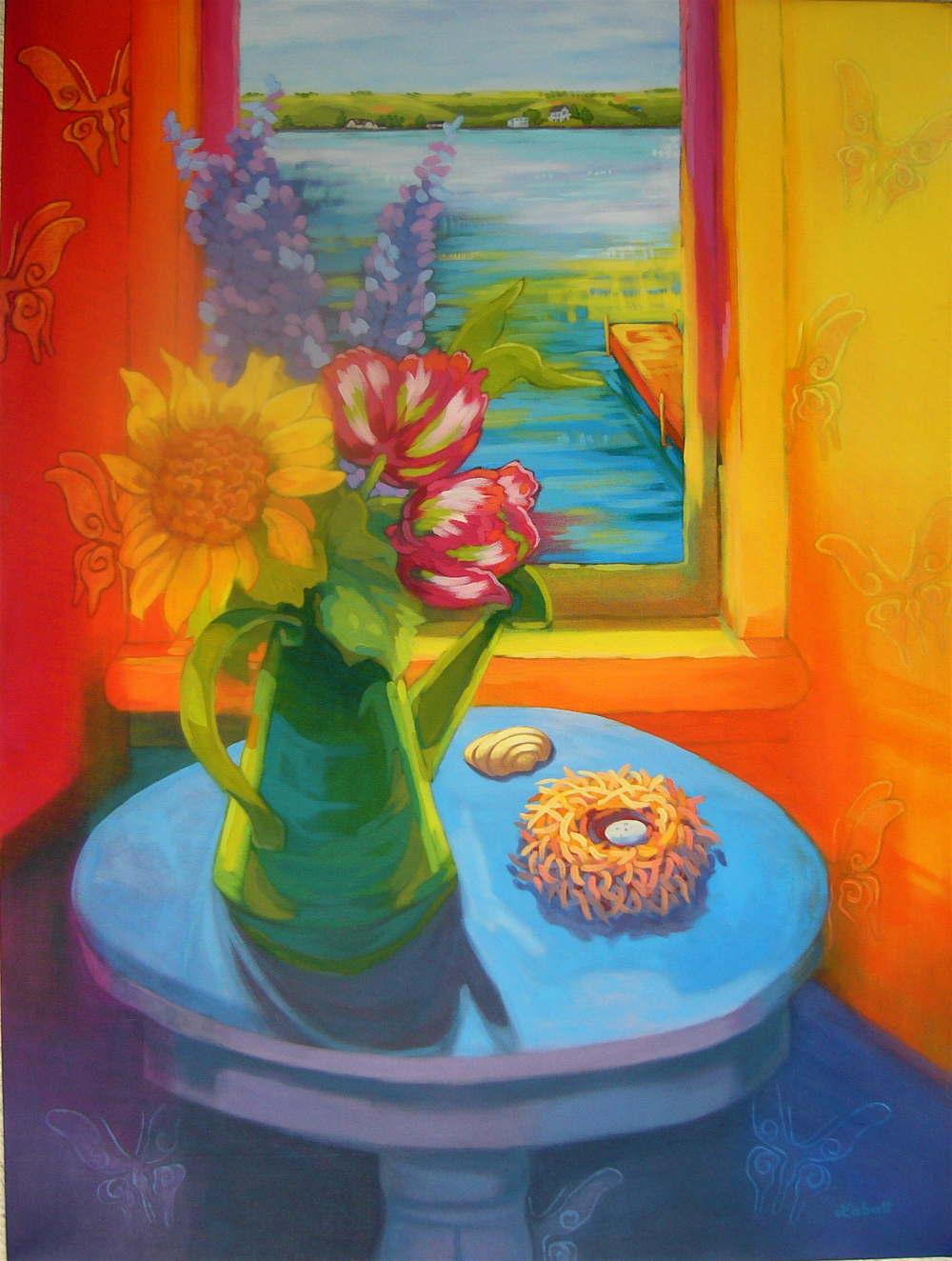 "Katepwa Summer; Acrylic on canvas, 36"" x 30"", 2009"