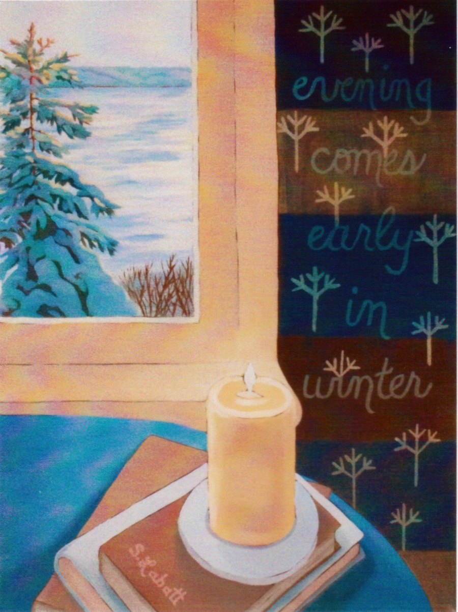 "Evening Comes Early in Winter; Acrylic on canvas, 14"" x 18"", 2009"