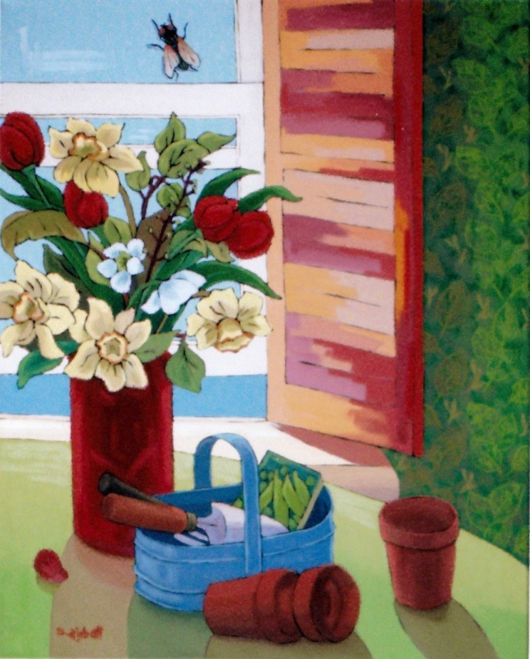 "First Bouquet; Acrylic on canvas, 30"" x 24"", 2009"