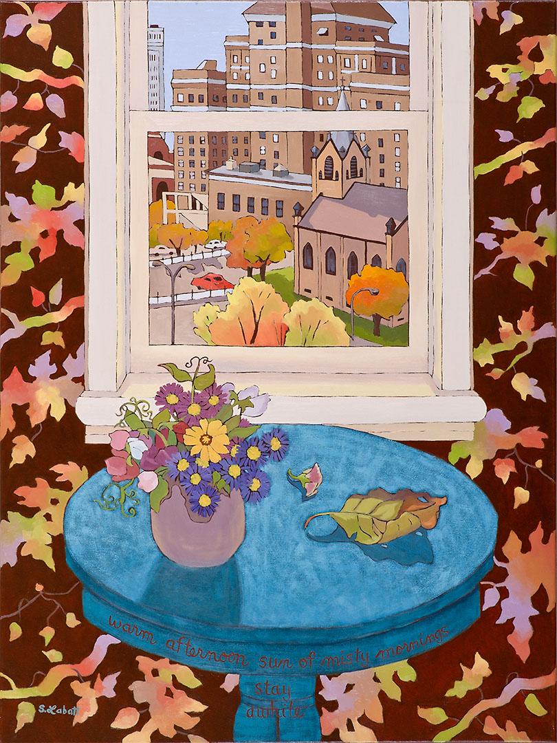 """City in Autumn; Acrylic on canvas, 40"""" x 30"""", 2009"""