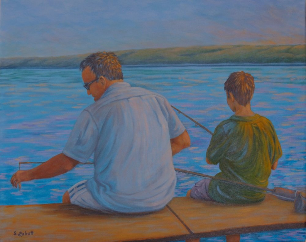 "Fishing off the Dock""; acrylic on canvas, 24"" x 30"", 2015"