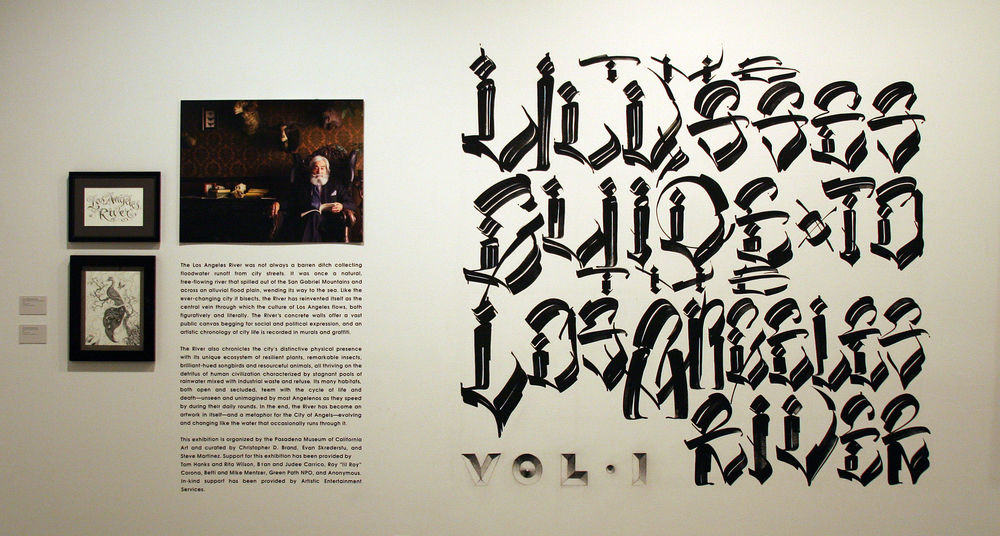 The Ulysses Guide to the Los Angeles River.  Exhibition at the Pasadena Museum of California Art, February 13 — July 3, 2010. Installation view. Title Wall Lettering by Chaz Bojorquez.