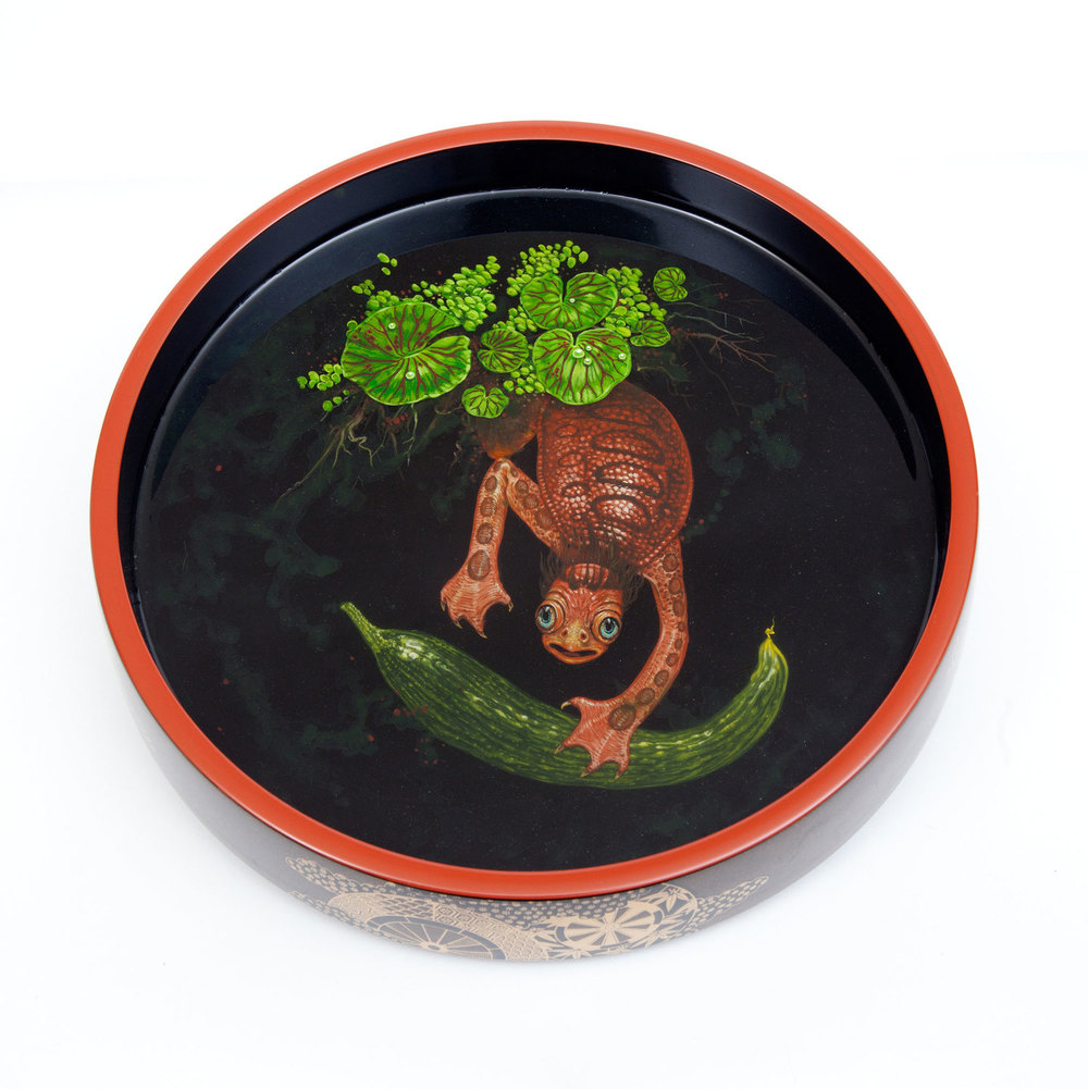 "Christopher Brand.  Untitled (captive Kappa in dish) . 2014 - acrylic & layered resin on dish, 12"" diameter - 3"" deep."