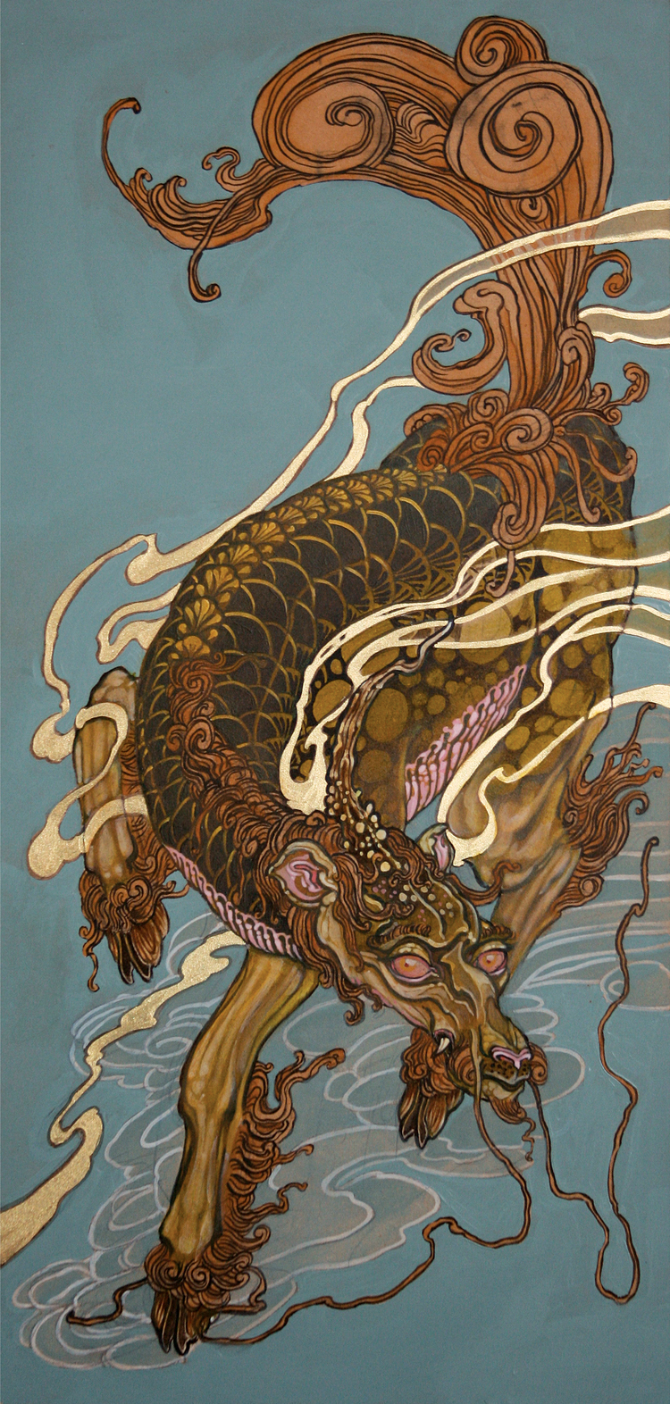 Christopher Brand.  Untitled (Kirin) . 2010 - acrylic on board, 2' x 1'.