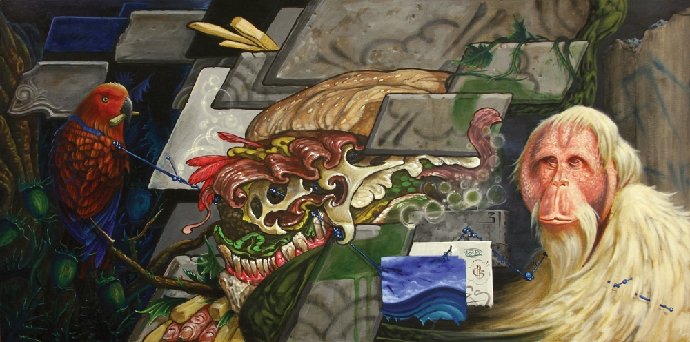 Espi, Chris Brand & Evan Skrederstu.  Molecular Mismanagement . 2011 - acrylic on board, 2' x 4'.