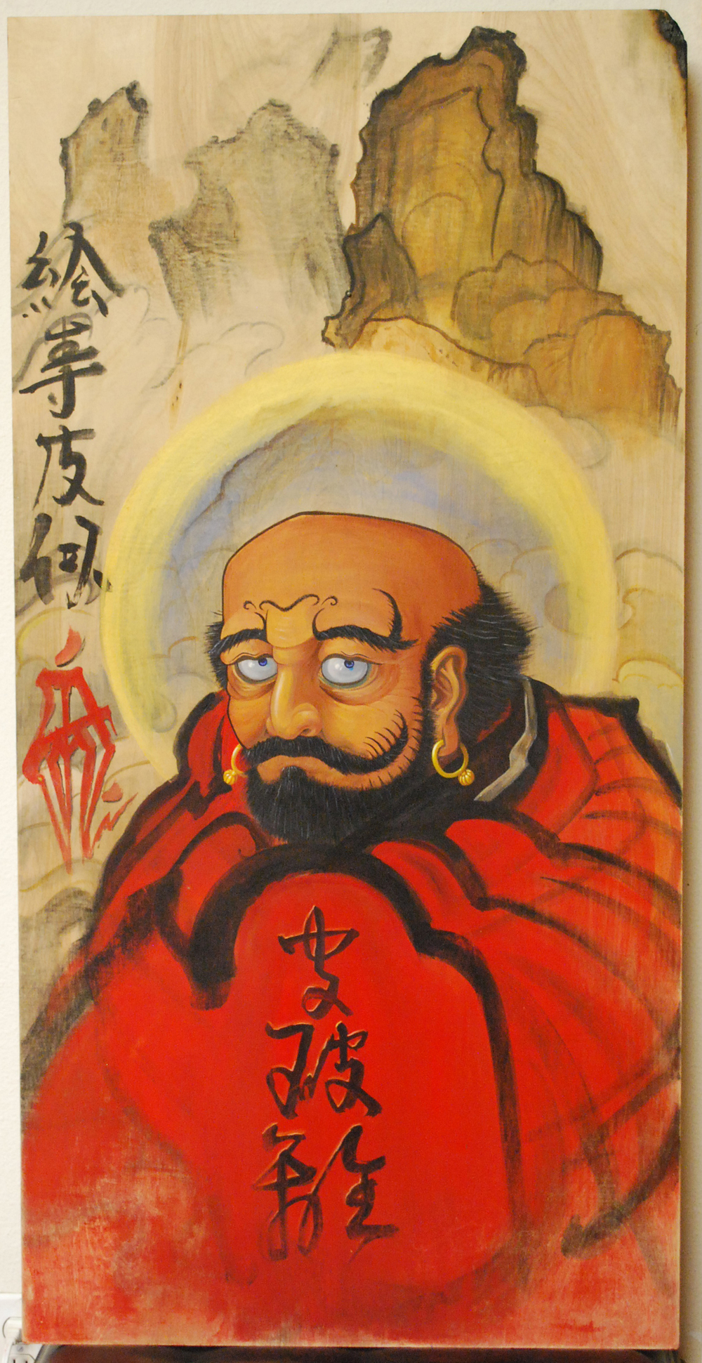 Espi.  Daruma . 2008 - acrylic on wood, 4' x 2'.
