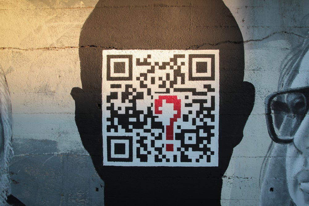 "QR Code process for ""L.A. Stories"" mural by Brand, Gattis, Martinez, & Skrederstu. Photograph courtesy of Sam Price-Waldman, 2013."