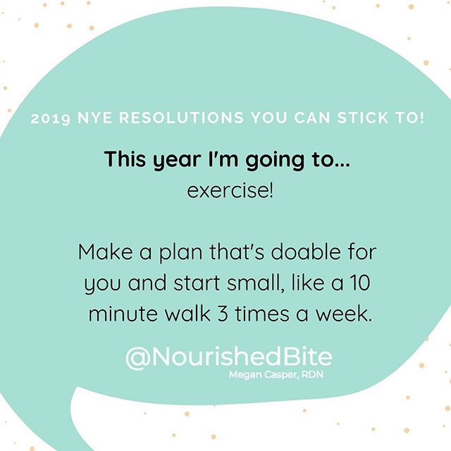 With all of the amazing health benefits you get from exercise, it's one of the new year's resolutions top picks. (One study found that around 50 million Americans pledged to exercise more and lose weight in 2017! ) But HOW much exercise should be your goal?👟 . .  The real trick to making a resolution stick is that it's not totally unreasonable and undoable. If you haven't worked out in years aim for a smaller resolution - take the stairs, walk an extra 10 minutes a day, or get 5,000 steps on a pedometer. . . If you're already working out? Add an extra day at the gym a week, take a new class, or increase your weights. Find something to mix it up, keep it fun and interesting, and keep your muscles guessing! 💪💪💪 _________________________  And if losing weight or getting in shape is one of your New Years goals, head over to my #giveaway post! . . My new course has all you need to jumpstart your nutrition and exercise knowledge and get started! This isn't some fad diet. I broke down what I'd teach as a registered dietitian in a course you can do at your own pace. Check out the giveaway post to apply for #free or head over to my profile link to learn more! . . . . . #nyeresolutions #resolution #diet #wls#happyholidays #giveaway #giveawaycontest #giveaways #health #getfit #healthy #healthyeatinghabits #exercise #workout #wls #diet #health