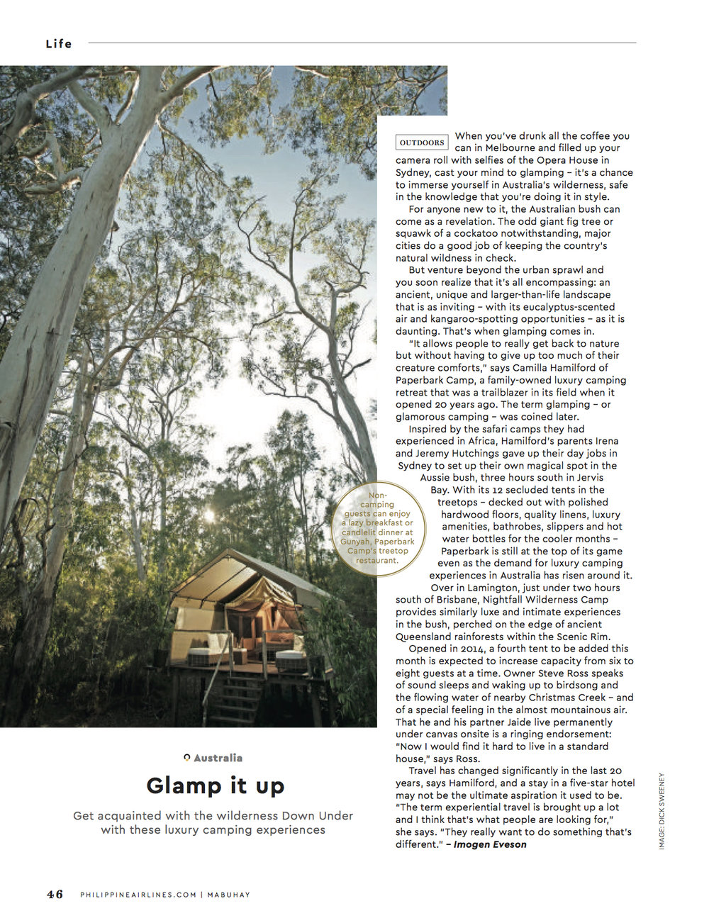 Glamping feature – Mabuhay inflight magazine