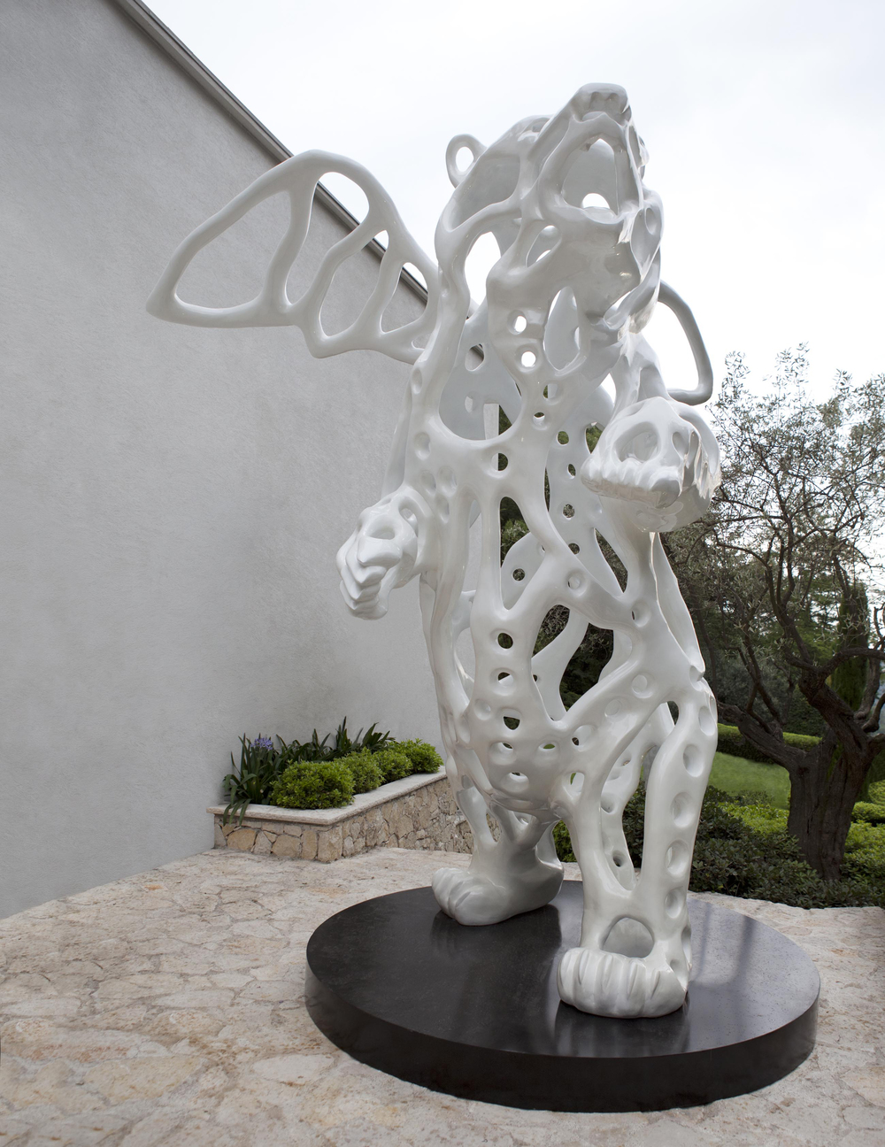 Richard Texier white massive Angel Bear sculpture
